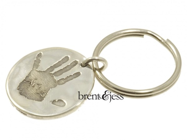 Child Handprint Keychain in Sterling Silver