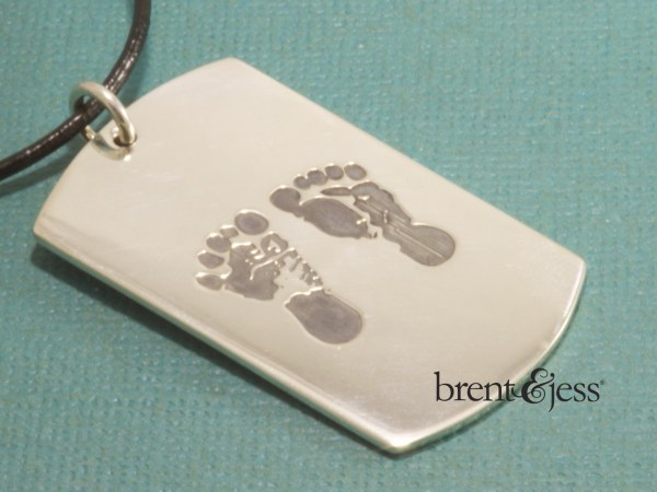 custom baby footprint dog tag necklace by Brent&jess