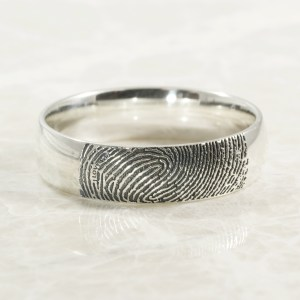 Secret Message Fingerprint Ring in Sterling Silver by Brent&Jess