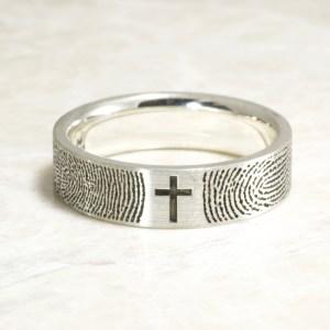 Brent&Jess Fingerprint Cross Ring