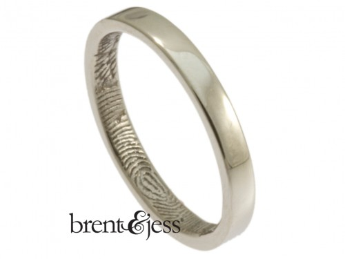 Platinum fingerprint wedding ring by Brent&Jess