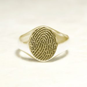 Classic 14k Yellow Fingerprint Signet Ring