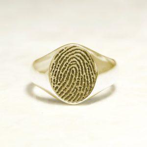 Classic 14k Yellow Fingerprint Signet Ring
