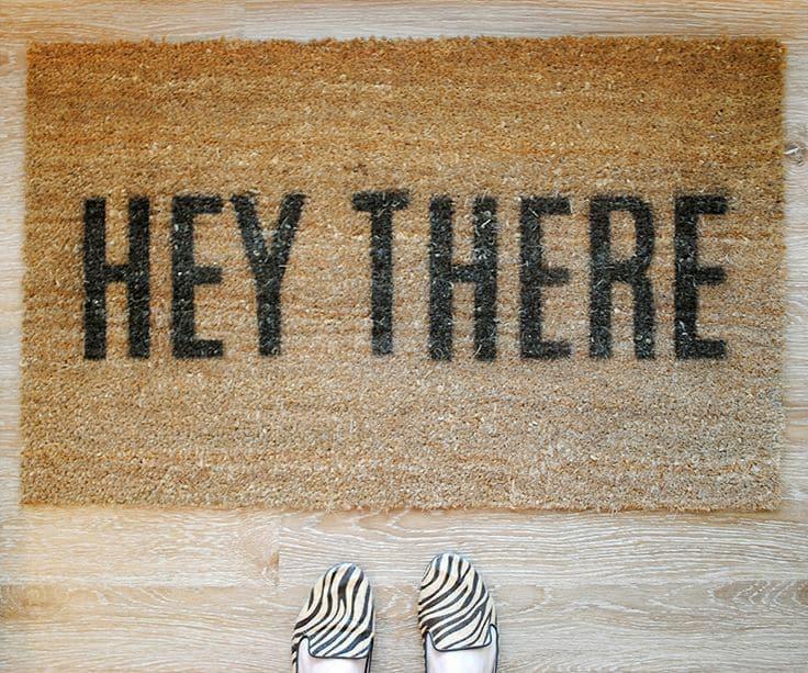 Graphic quote door mat.