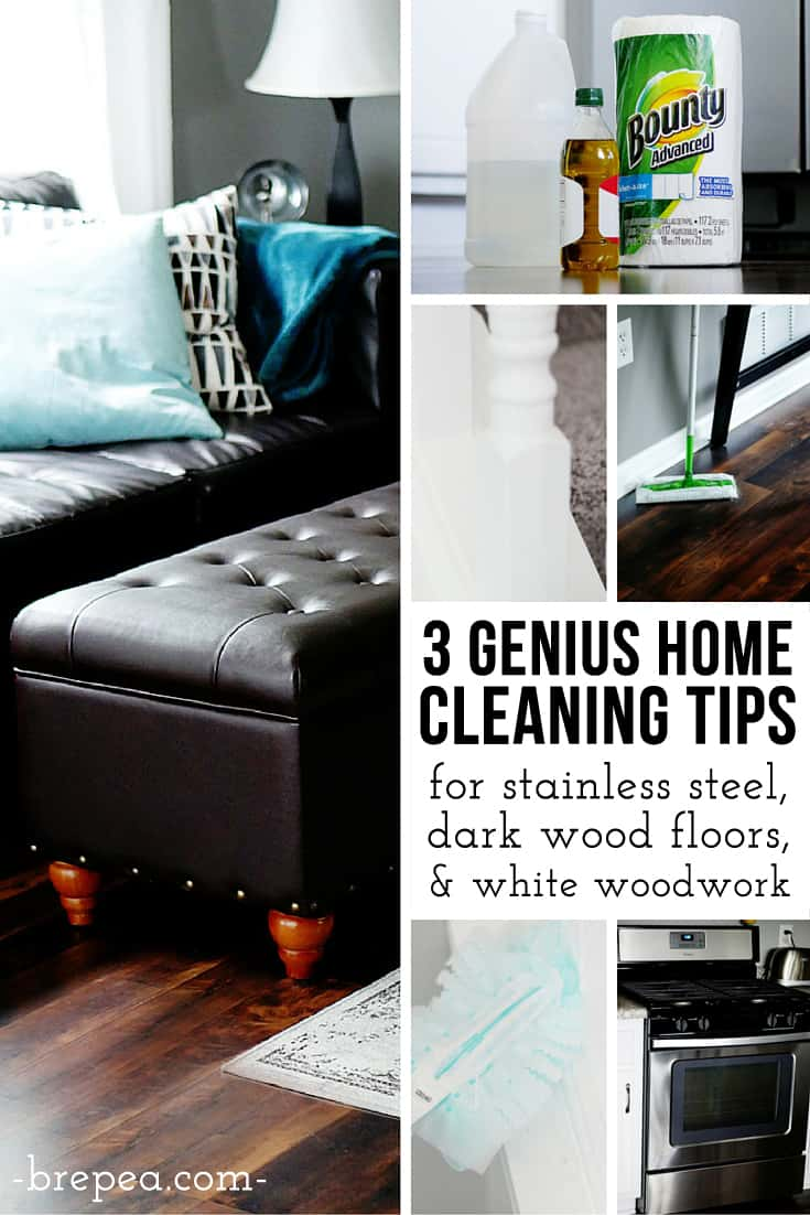 The BEST homemade cleaners for stainless steel and dark wood laminate floors- no streaking!