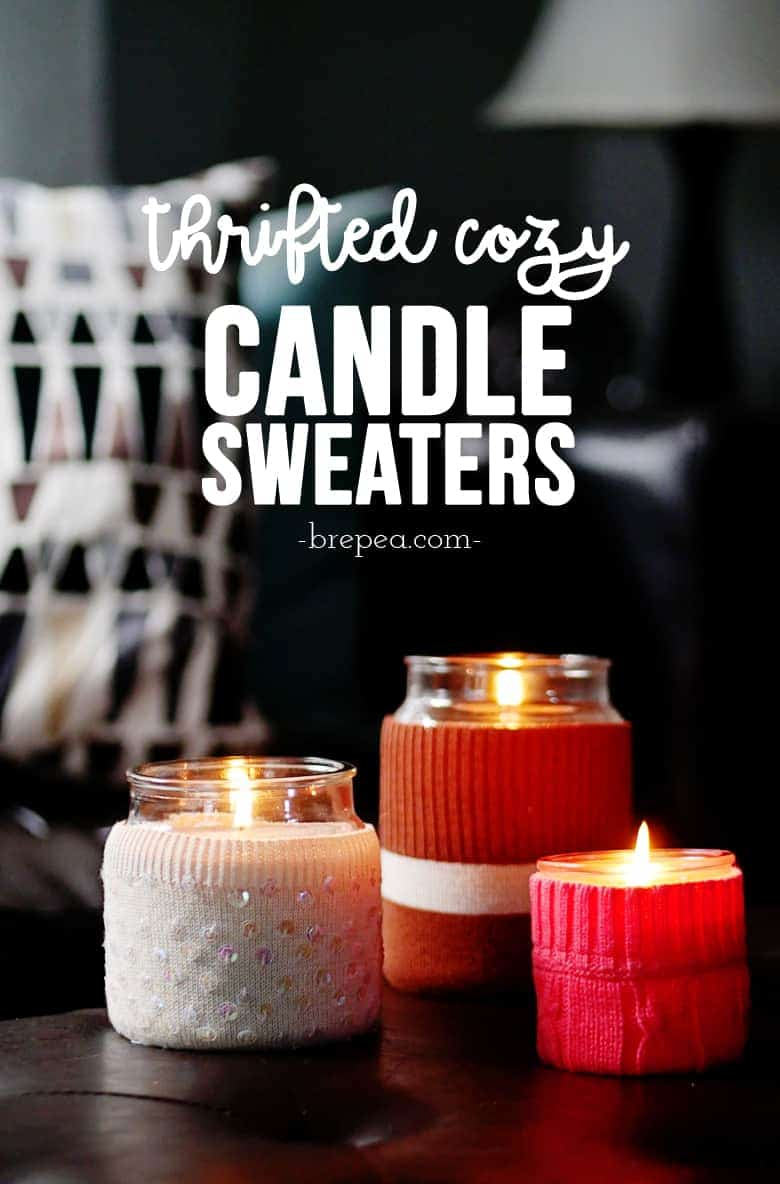 This thrift store transformation takes an old sweater and turns it into a cozy candle sweater. Perfect to customize for any holiday decor!
