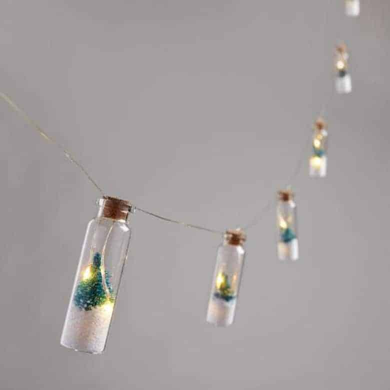 Bottled Snowy Tree Micro LED Battery Operated String Lights