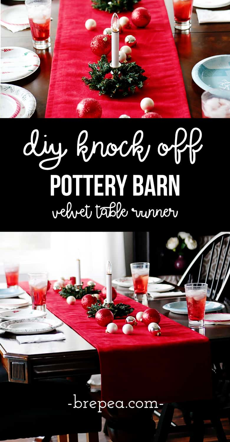 This DIY Pottery Barn Knock Off Velvet Table Runner can be made for under $20!