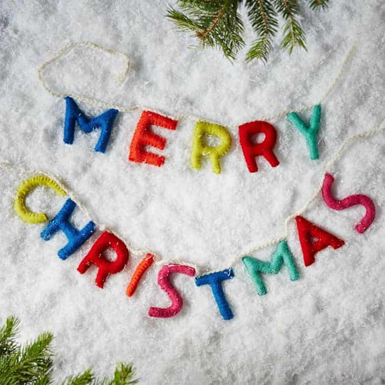 West Elm Felt Message Garland - Merry Christmas