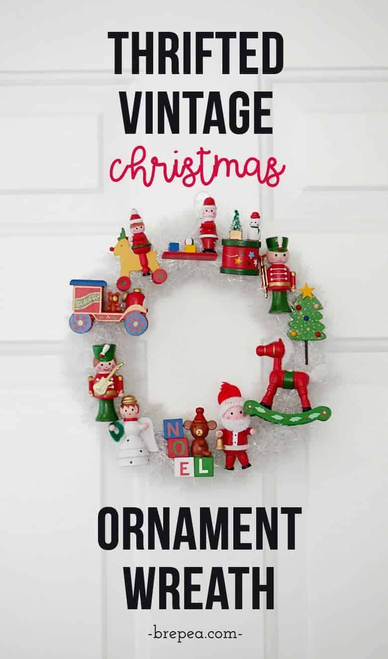 The ultimate way to use vintage Christmas ornaments in a project: a vintage Christmas ornament wreath!