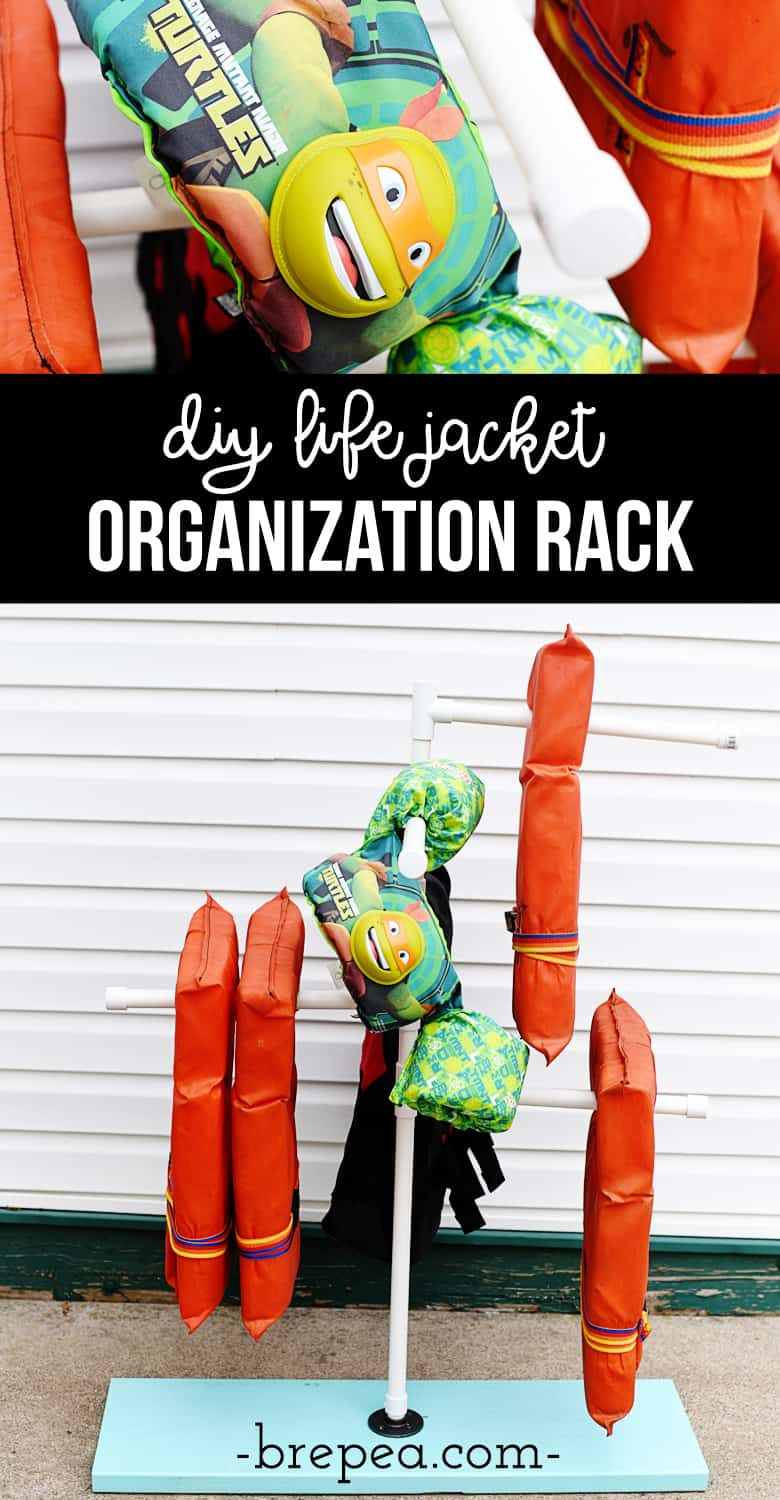 This is such a great life jacket organization idea! This DIY life jacket rack is perfect for drying and organizing!