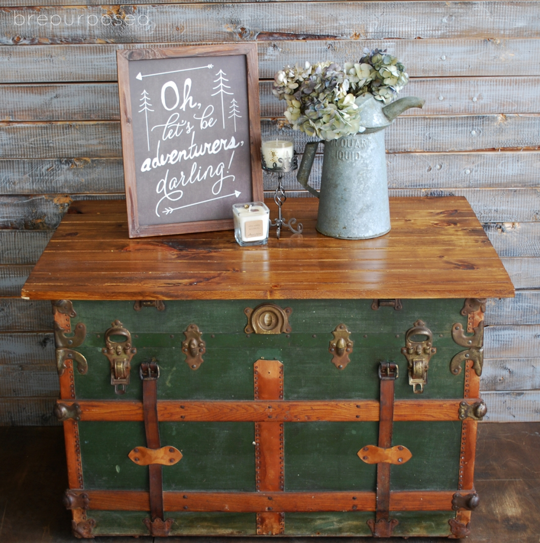 Antique Steamer Trunk Turned Coffee Table brepurposed