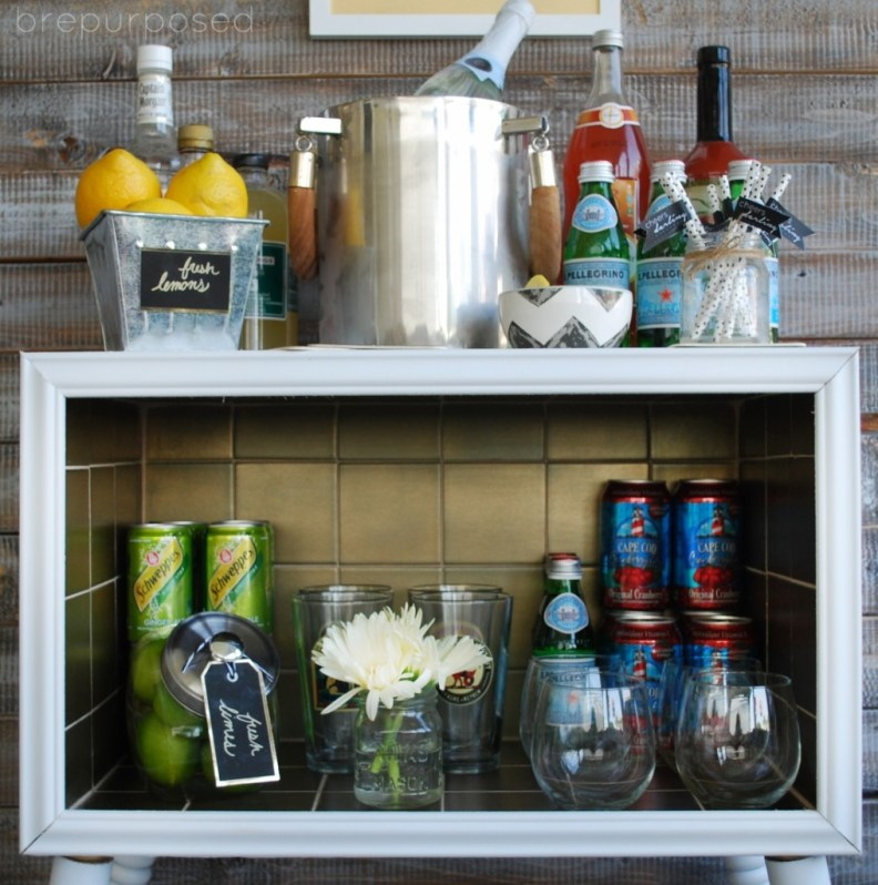 White and Gold Bar Cart