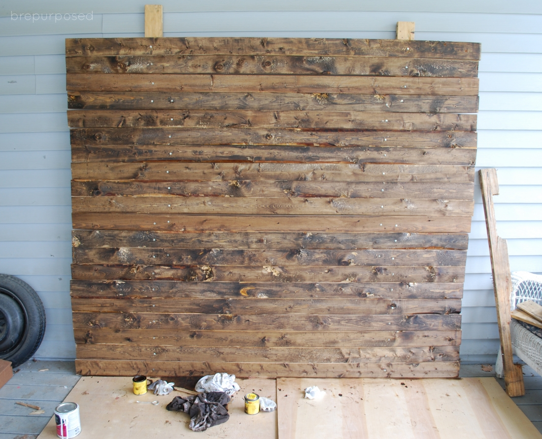 DIY Faux Distressed Wood Backdrop Brepurposed