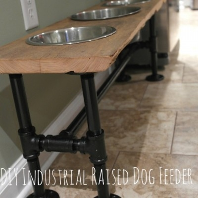 DIY Industrial Raised Dog Feeder