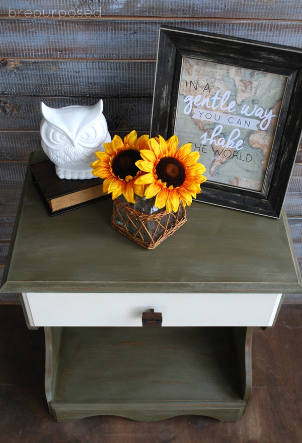 Olive and Old White Two Toned Table