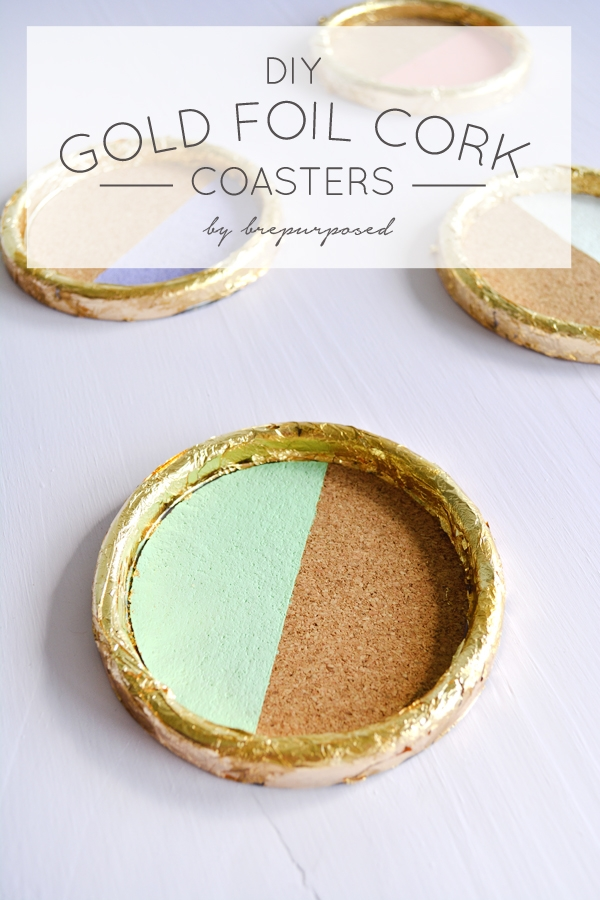 DIY Gold Foil Cork Coasters