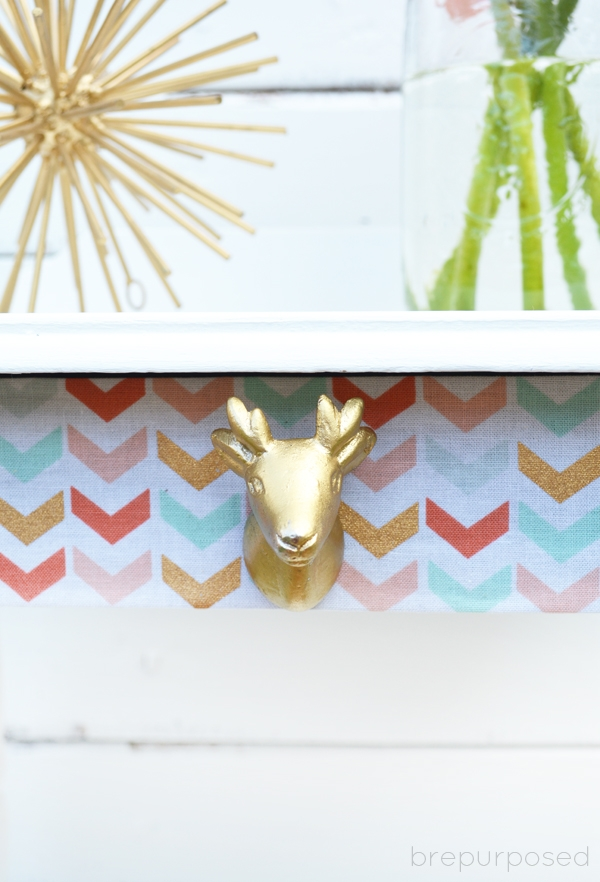 Little White Table with Deer Head Knob