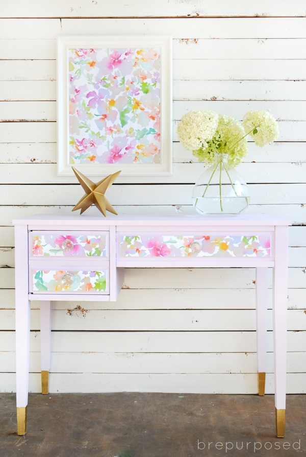 Pretty Purple Desk with Watercolor Paper