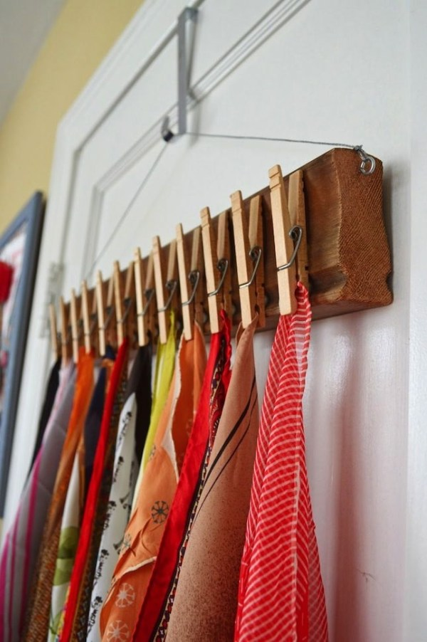 Clothes Pin Scarf Holder