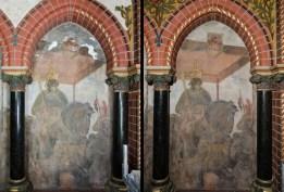 Rathaus Lübeck, Blendenmalerei im Bürgerschaftssaal. Links: Vorzustand. Rechts: Endzustand.