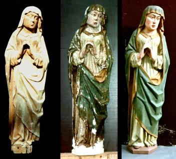 Dorfkirche Vietlübbe, Maria. Links: Vorzustand. Mitte: Freilegung der Erstfassung. Rechts: Endzustand.