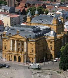 Farbskizze zur ursprünglichen Fassadengestaltung des Staatstheaters zu Schwerin (Fotomontage)