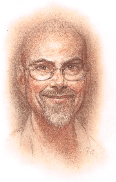 Self portrait by Bret Blevins.  Conte' Crayon