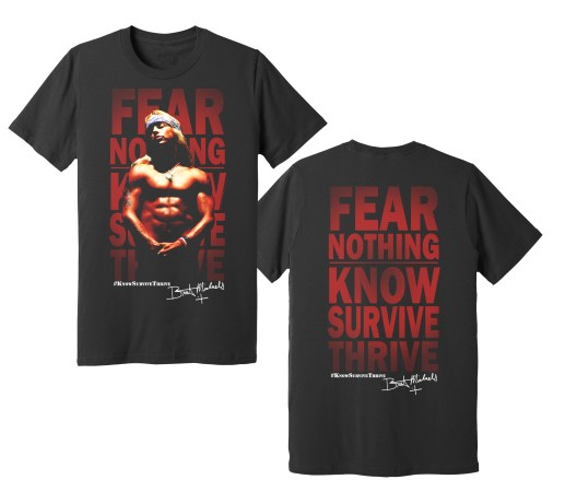 Fear Nothing: Know Survive Thrive full-color photo tee - front and back graphics taken directly from the pages of Bret's Auto-Scrap-Ography, also available in the store.