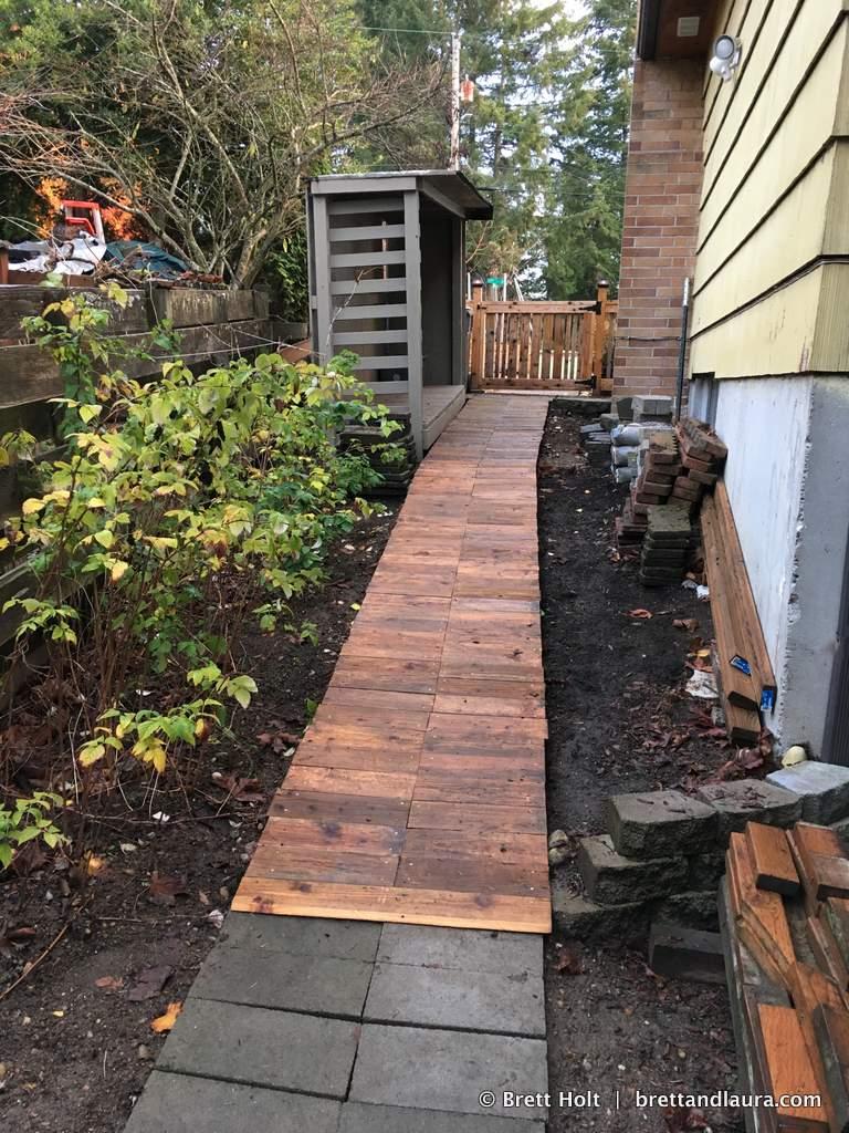 Built this boardwalk on the sideyard