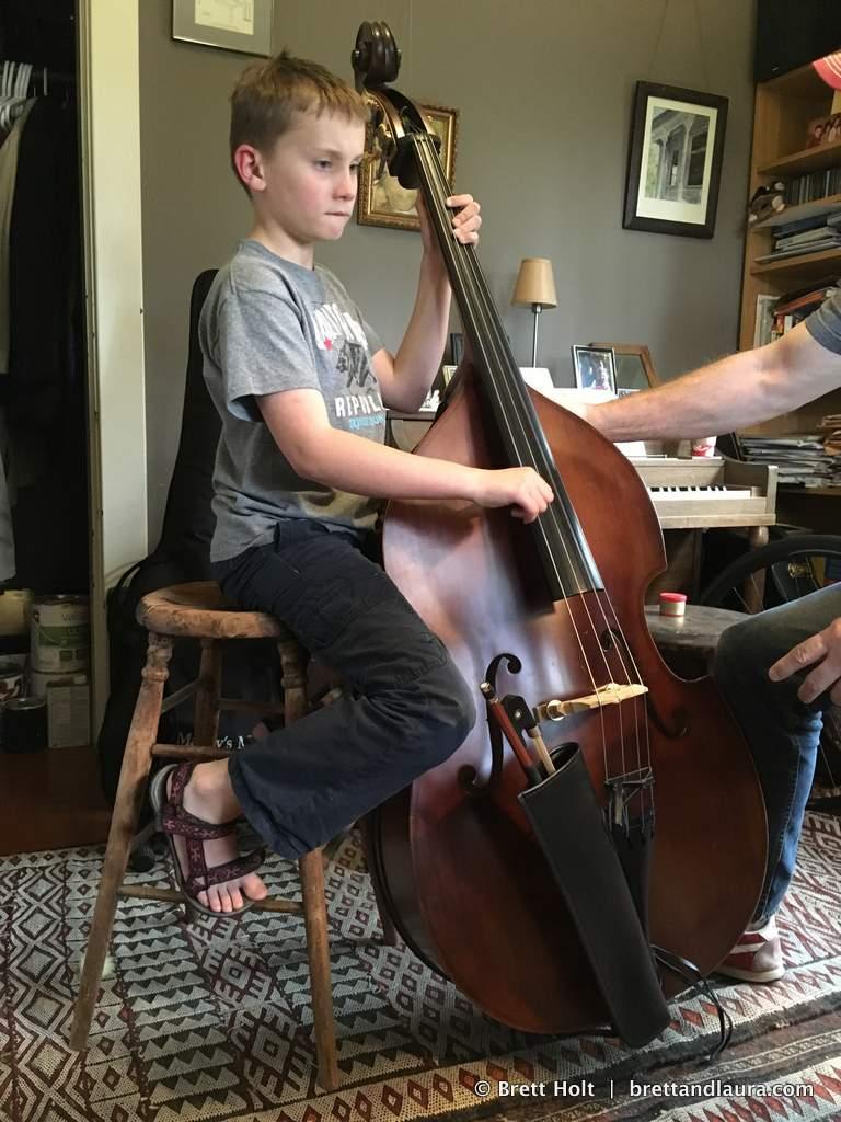 Ethan learns the bass