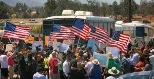 Protesters block buses of children in Murrieta, CA
