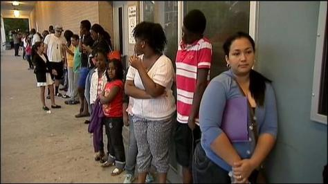Newark Parents wait in line for school assignment.