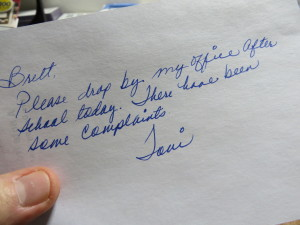 teachers note principal
