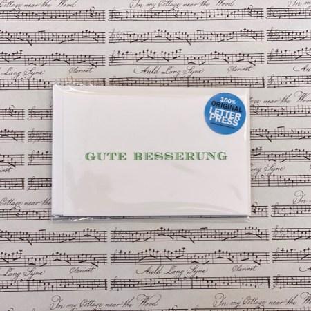 Bayreuth Buchhandlung Breuer und Sohn Karte Gute Besserung Grün