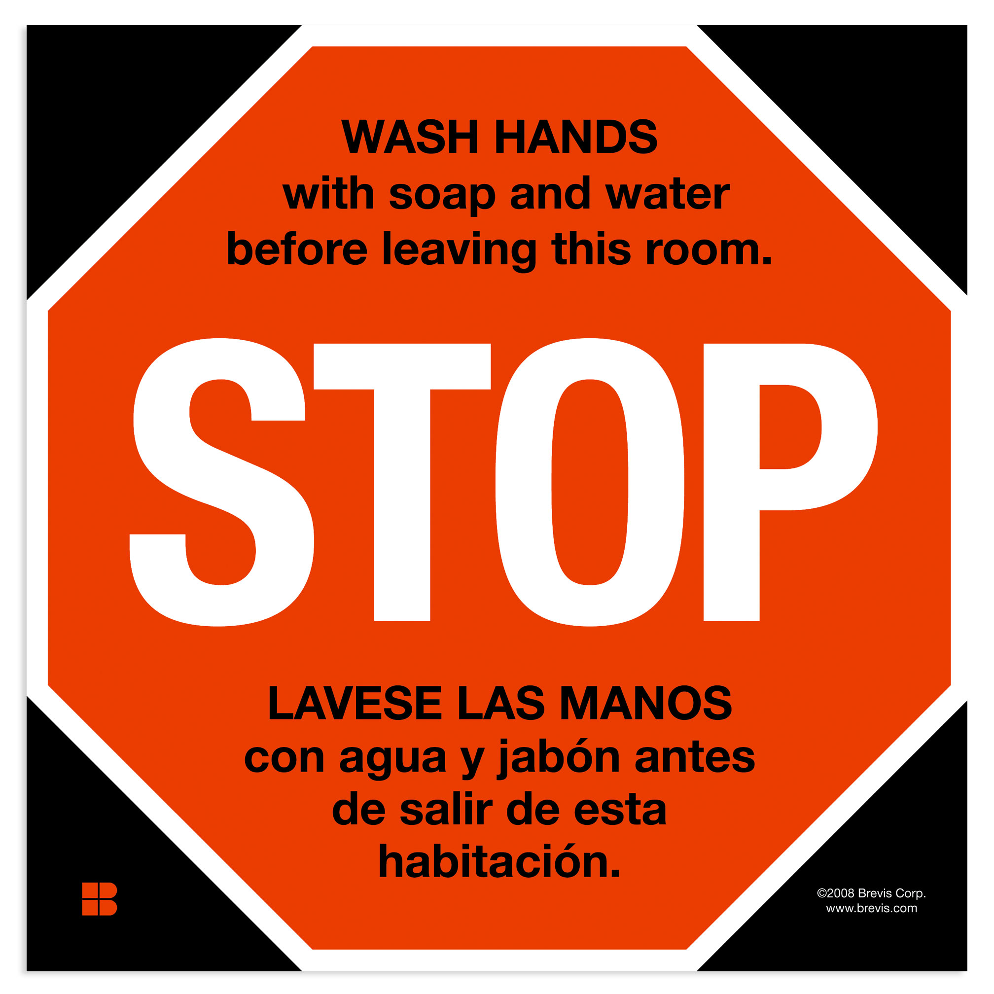 Stop Sign Wash Hands In English Spanish