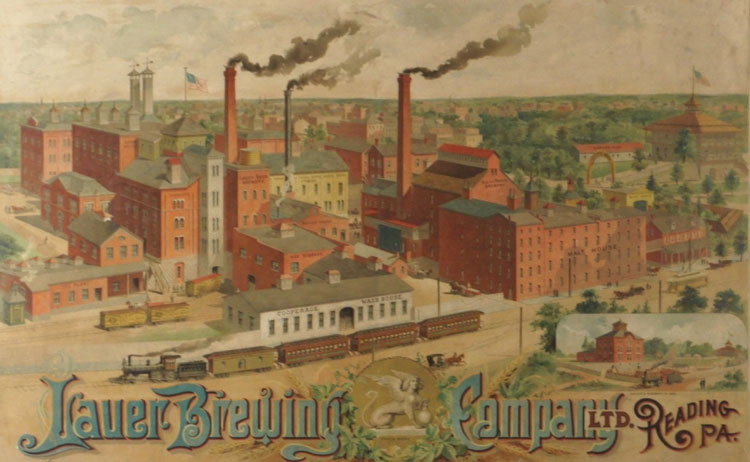 Lauer Brewery Factory Scene Lithograph