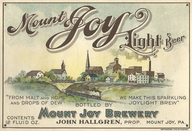 Mount Joy Brewery Label with the Brewery on the Right