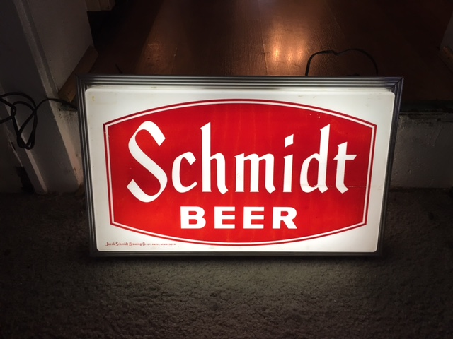 Double Sided Hanging Schmidt Beer Sign