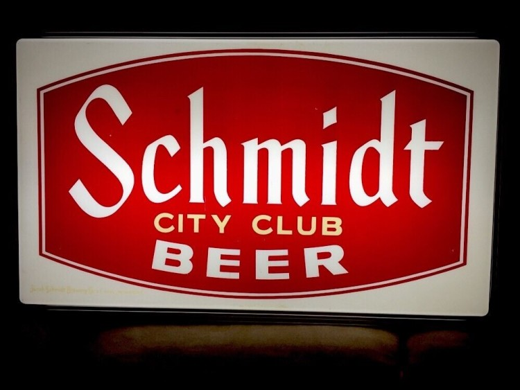 Single Sided Schmidt City Club Beer Sign