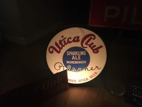 utica club pilsener beer lighted sign brunhoff manufacturing company