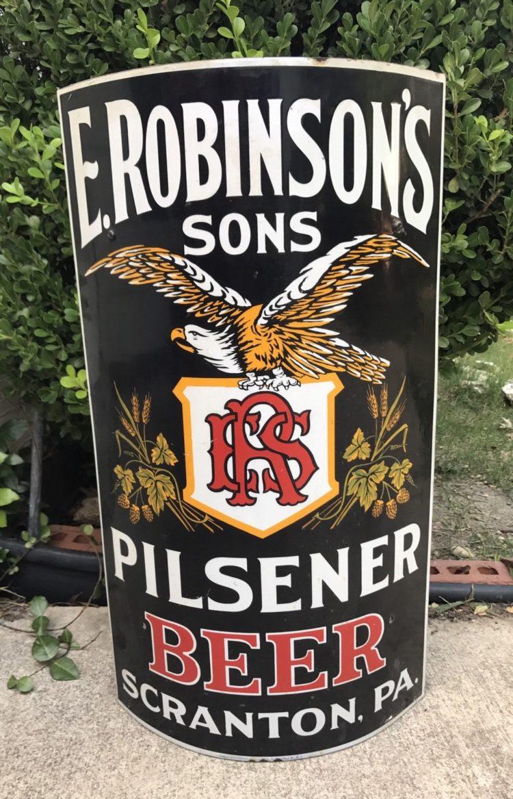 e robinsons sons pilsener beer scranton pa curved porcelain sign
