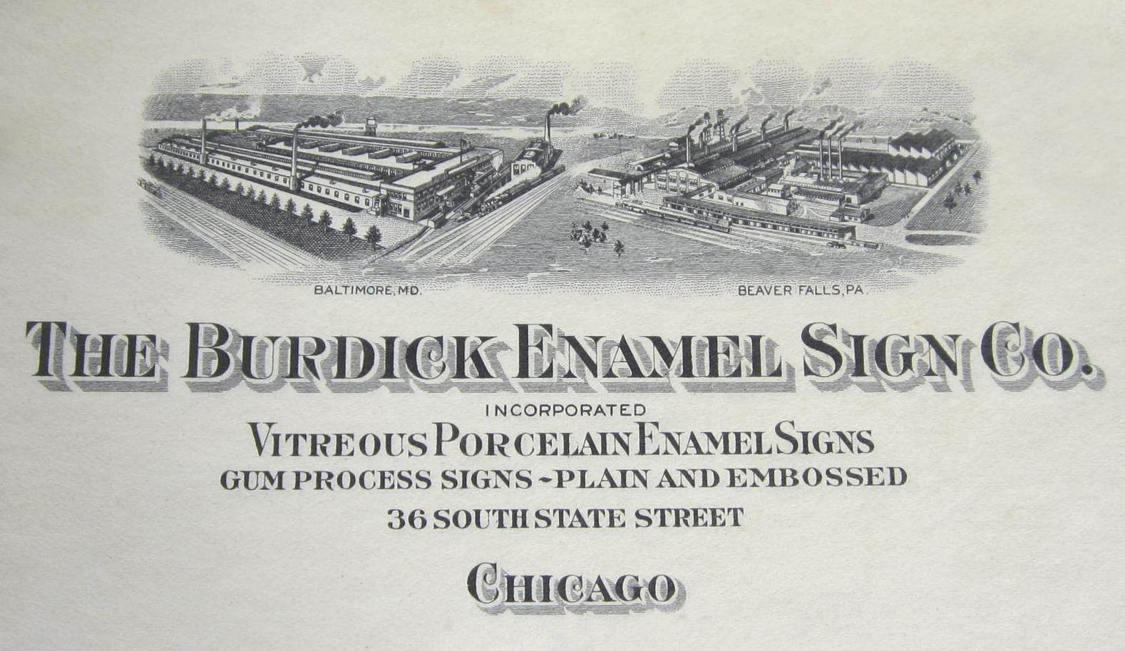 Burdick Enamel Sign Company - Breweriana Aficionado