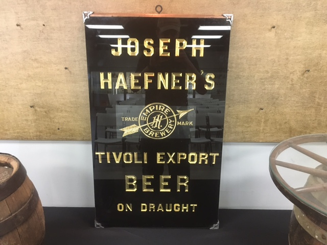 Joseph Haefner's Tivoli Export Beer Glass Sign