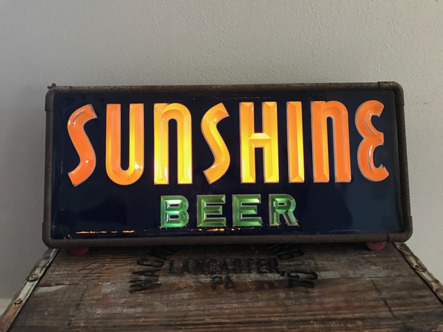 sunshine beer lighted sign brushoff manufacturing company