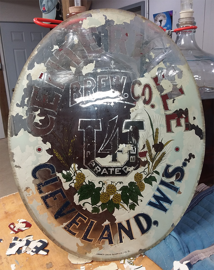 centerville brewing company cleveland wis glass sign cincinnati sand blast company