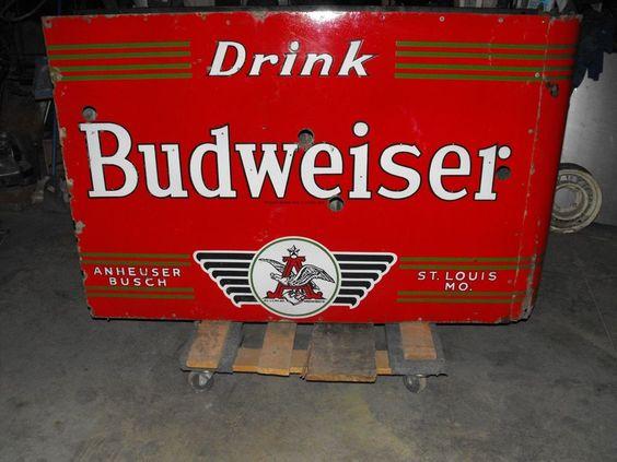 drink budweiser beer anheuser busch porcelain neon sign zeiser bros sign company