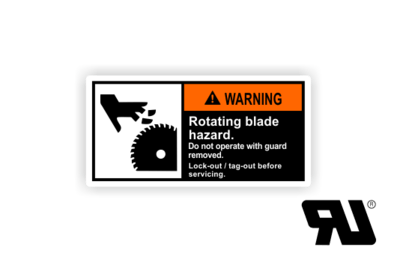 Rotating blade hazard. Do not operate with guards removed