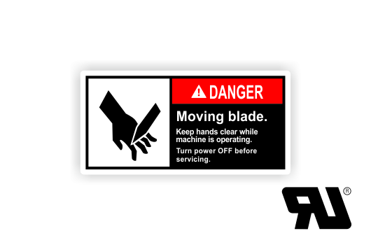 Moving blade. Keep hands clear while machine operating ANSI