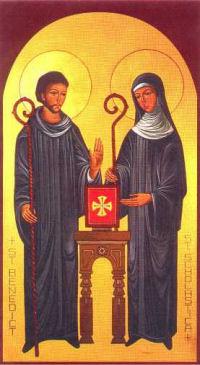 Święty Benedykt z Nursji z rodzoną siostrą, św. Scholastyką